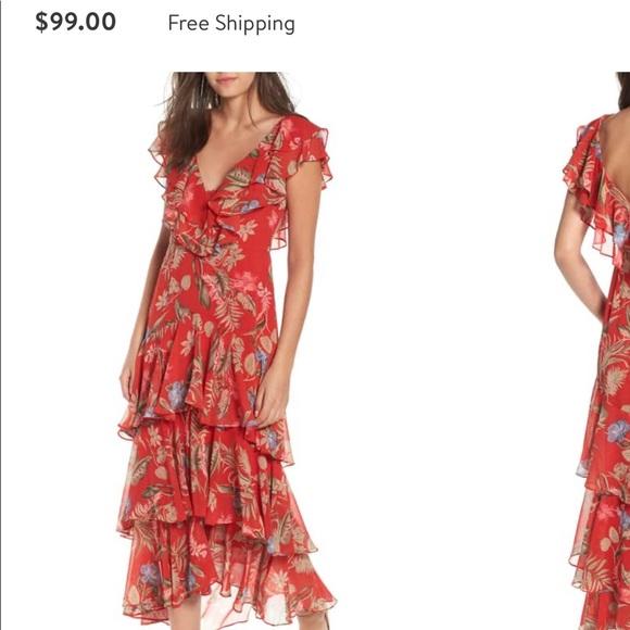 00eebf9991f64 WAYF Chelsea Tiered Ruffle Maxi Dress Red. M_5c8c4d46d6dc52d63a80ba87